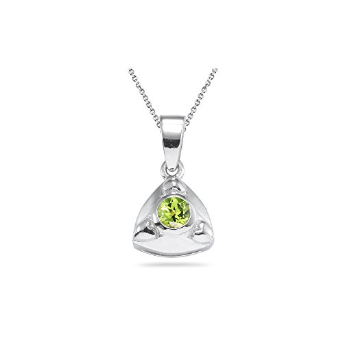 0.20 Ct 4 mm AA Round Peridot Solitaire Trillion-shaped Pendant-Silver - Valentine's Day Sale