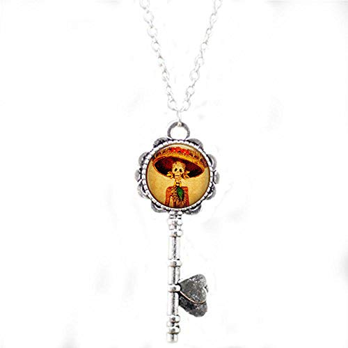 Dia Fancy Necklace - hars Calaveras Day of The Dead Woman Skeleton in Fancy Hat - Dia de Los Muertos Necklace - Religious Jewelry Key Necklace