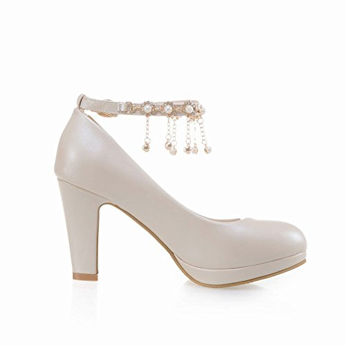 Court Size Faux Shoes Shoes 8 2 Beige Heel High Pearl Mee Women's Charm 8XZaqqvB