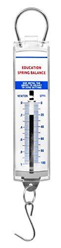 Premium Spring Balance, 0-100g / 0-1N - High Resolution, Dual Transparent Scale, Newtons & Grams - Zero Calibration Capability - Acrylic Body, Superior Quality & Finish - Eisco Labs