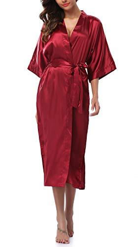 (Womens Pure Color Long Satin Bathrobe Kimono Nightgown Long Dress Gown Burgundy)