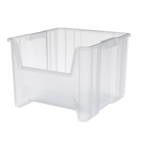 Akro Mils 13018 Stak N Store Stacking Hopper Front Plastic Storage Bin,  Clear, Case Of 2
