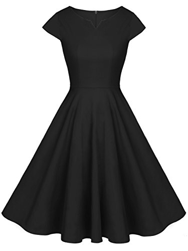 1960's Womens Dress - FAIRY COUPLE Vintage Rockabilly Cap Sleeves Prom Dress M Black