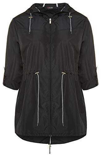 Yours Clothing Plus Size Womens Pocket Parka with Contrast Drawstrings