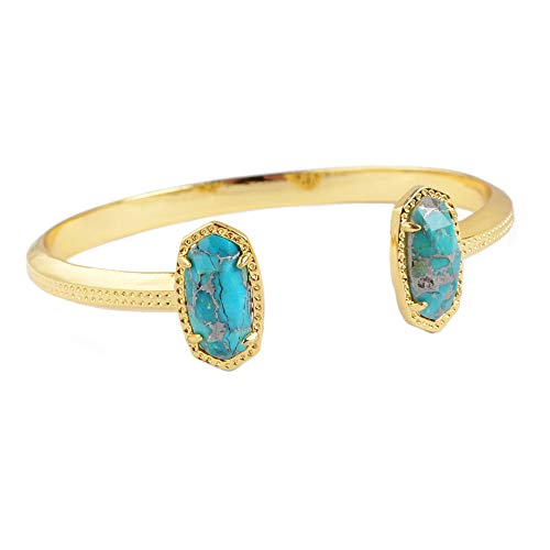 ZENGORI 1 Piece Gold Plated Double Hexagon Natural Gold Turquoise Bezel Setting Open Bangle