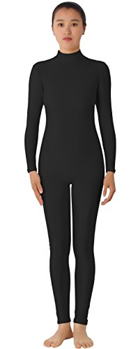 [AveryDance Adult Lycra Long Sleeve Unitard Bodysuit Dancewear, XL, Black] (Black Bodysuit Costume)