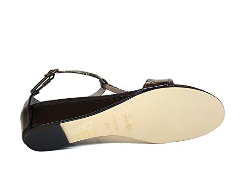 GENNIA SINCUVI - Women´s Leather Sandals with Wedge Boa V5-black NESw9r