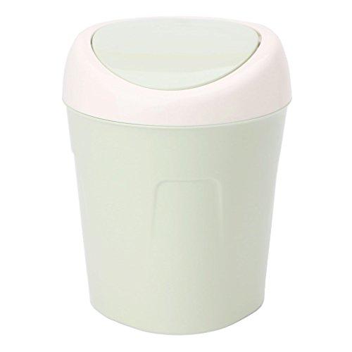 Misright Mini Creative Desktop Garbage Can Trash Waste Bin Basket Dustbin Container Home Car Case (Green)