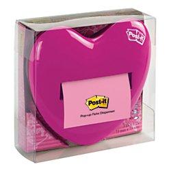 Pink Dispenser (Post-it Pop-up Notes Dispenser for 3 x 3-Inch Notes, Pink, Heart Shape)