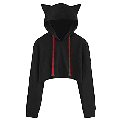 HGWXX7 Clearance Sale Women's Sweatshirt Cute Cat Solid Long Sleeve Short Tops Pullover Blouse Hoodie