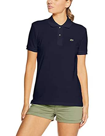 Lacoste Women's 2 Button Relaxed Fit Polo, Navy Blue, 36F (AU 8)