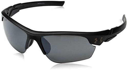 Under Armour Wrap Sunglasses UA WINDUP Satin Black Frame/Gray MULTIFLECTION Lens, YOUTH