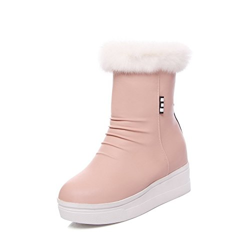 Heels Women's Zipper Assorted High Boots Color Pink top Low AgooLar PU ABw8A