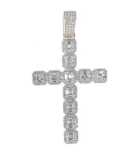 - Midwest Jewellery 14K Gold Diamond Cross Pendant 2.00ctw Baguette Diamond Cross Mens