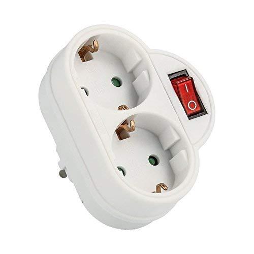 Enchufe con interruptor Schuko conector | 2 capas de enchufe doble en blanco, conector doble vertical – Vertical (1) conector doble vertical - Vertical (1) EXTA