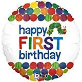 Happy 1st Birthday Balloon The Very Hungry Caterpillar by Eric Carle 18 Round Foil for Helium Inflation Party Decoration in Green Blue Orange Red Yellow Polka Dots and Multi Color Bug Words on White ()