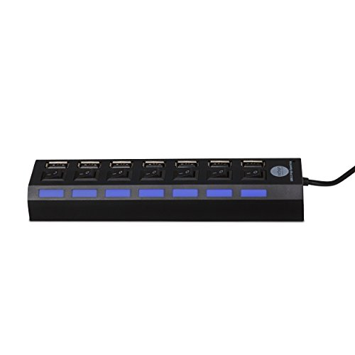 7 Port USB 2.0 Hub with Individual Power Switches and LEDs On Off Switch Design Slim Compact Lightweight Fast Communication For PC Linux Mac Windows Smarts Tvs Accessory Travel Great Price OCBAN by Ocban (Image #2)'