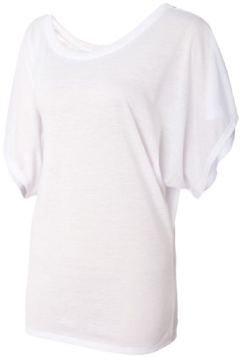 bella Flowy Draped Sleeve Dolman T-Shirt, White, L