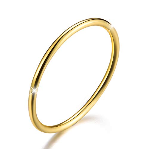 Esberry 18K Gold Plating 925 Sterling Silver Minimalist Tail Rings Joint Rings Simple Thin Rings Stackable Rings,Size 2-11 (Yellow Gold, 6)