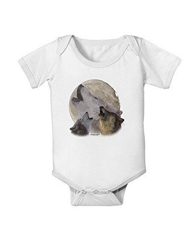 Wolves Howling At The Moon (TooLoud Three Wolves Howling at the Moon Baby Romper Bodysuit - White - 6 Months)