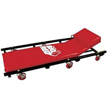 """Torin Big Red Rolling Garage/Shop Creeper: 40"""" Padded Mechanic Cart with Adjustable Headrest, Red"""