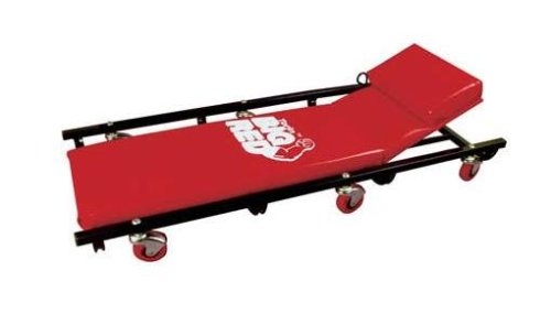 "Torin Big Red Rolling Garage/Shop Creeper: 40"" Padded Mechanic Cart with Adjustable Headrest, Red"