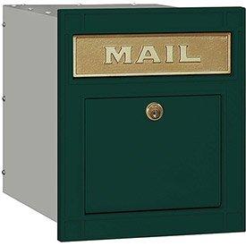 Salsbury Cast Aluminum Column Mailbox 4145P-GRN - Recessed Mounted Locking, Plain Door, Green
