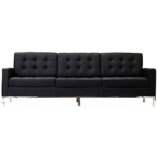 LexMod Florence Style Sofa in Black Genuine Leather