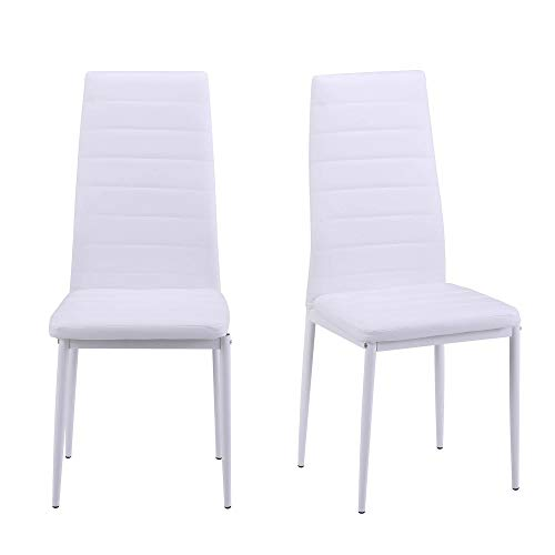 Merax Set of 4 Dining Room Chairs PU Leather Home Furniture Kitchen Side Chairs (White) by Merax (Image #2)