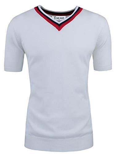 (TAM WARE Mens Casual Slim Fit Basic V-Neck Shortsleeve Sweater T-Shirt TWCMC07-WHITE-XXL)