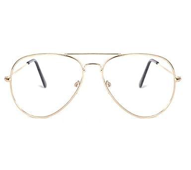 dec54dffc Aviator Metal Frame Flat Light Glasses Gold Big Frame Driving ...