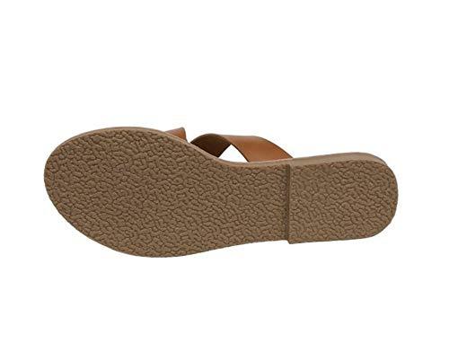 Partido Pie 37 Verano Fondo De Sandalias Durable Mujer Impermeable brown Del Zapatillas Plano Antideslizante Respirable Chancletas Dedo Cuero Zapatos UfYw0qX