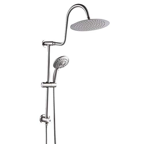(GhomeG Double Rain Spa Bathroom Combo-Fit Rain Shower System,Stainless Steel 10 Inch Shower Head,6-setting Hand Shower with Drill-Free Adjustable Slide Bar and Hose,Brushed Nickel)