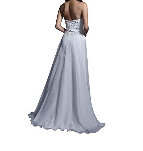 Abendkleider Lang Damen Spitze Rosa Charmant Chiffon Weiß Partykleider Promkleider Abschlussballkleider 6qHPIcZ