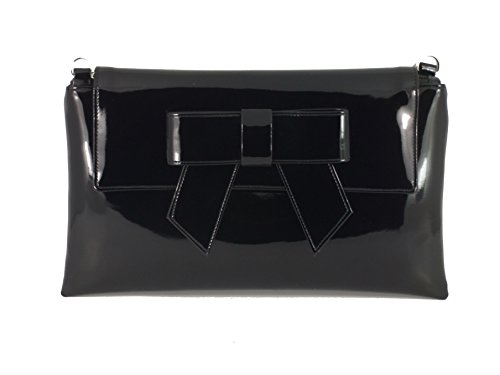 Alluring Black Leather (LONI Womens Clutch Bag Shoulder Bag Wristlet in Patent Faux Leather in Black)