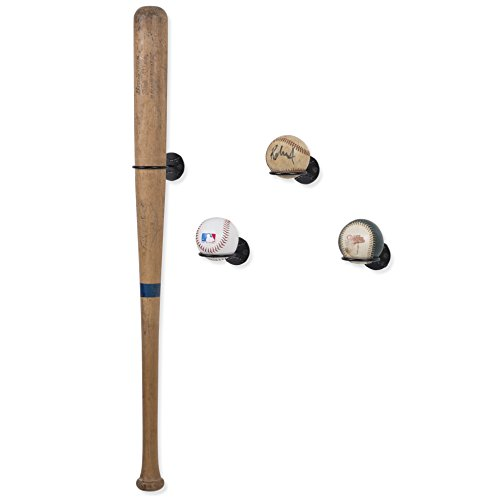 WALLNITURE Sports Memorabilia Baseball Bat and Ball Holder Wall Mounted Display Rack Steel Black Set of - Autographed Packages