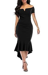 onlypuff Women's Cold Shoulder Bodycon Mermaid Hem Party Midi Dress Black XX-Large
