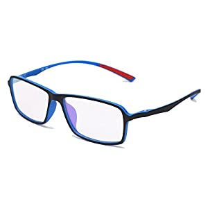 Beison TR90 Sports Glasses Optical Eyeglasses Flexible Frame 55mm (Black / Blue, 55mm)