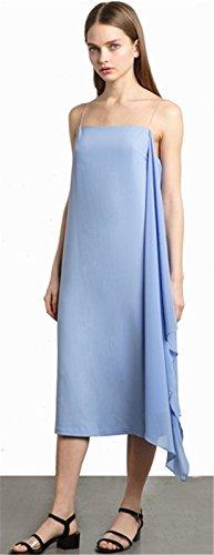Finos Cambio Shift Dress Azul Media Vestido Azul Pierna SZIVYSHI Midi Sin Straight Tirantes Boxy Recto Hem a de Mangas Columna Irregular qnRvORTt8