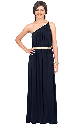 KOH KOH Plus Size Womens Long One Off The Shoulder Grecian Flowy Summer Formal Evening Bridesmaid Wedding Party Sexy Sundress Gown Gowns Maxi Dress Dresses for Women, Dark Navy Blue XL 14-16
