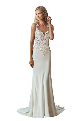 Appliqued Chapel Train - Women's Backless Lace Appliqued Sleeves Ball Gown Mermaid Wedding Dresses Sleeveless Illusion Chapel Train Bridal Gowns (4 Ivory)