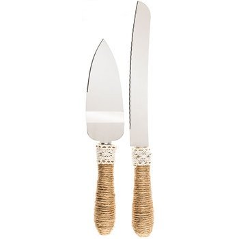 Pewter Server (Jute & Lace Serving Set Cake Knife and Server Wedding All Occasions)