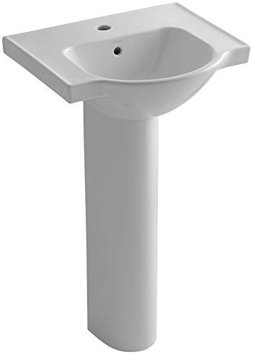eer Pedestal Bathroom Sink with Single Faucet Hole, 21-Inch, Ice Grey ()