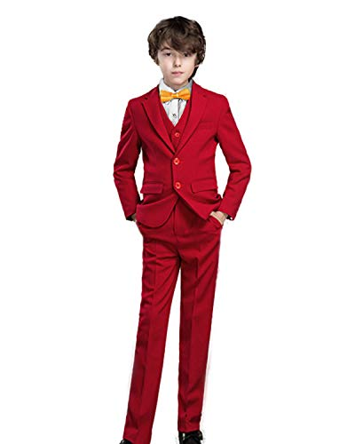 Red Suit For Kids (Yanlu Boy's Formal Suits Solid Dresswear for Kids Outfit Tuxedos Size 8)