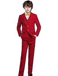 5 Piece Boy's Formal Suits Jacket+Vest+Pants+Shirt+Tie Kids Tuxedos 7 Colors
