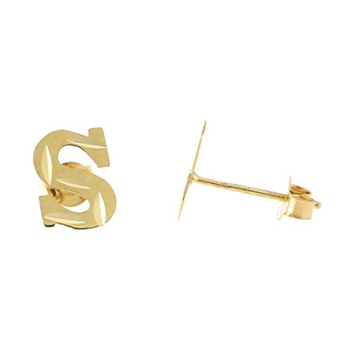 14k Yellow Gold Small Diamond Cut Initial Stud Earrings - S