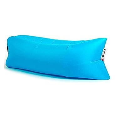 Lamzac Hangout - Light Weight Inflatable Sleeping Bag Large Bean Bag Inflatable Lounge Chair Comfortable Seat&Sofa (Aqua-Blue)