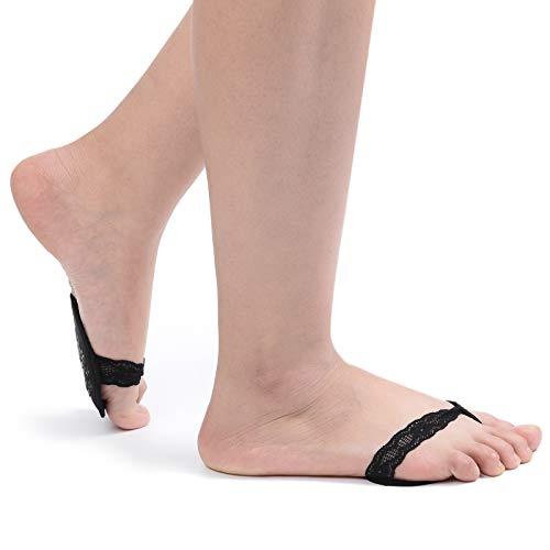 Women's 6 Pairs No Show Flip-Flop Half Socks Ball of Foot Sponge Cushions - Flip Ball Flop