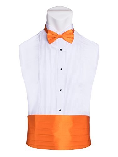 King Formal Wear Men's Premium Cummerbund & Bow Tie Set 100% Silk Cummerbund & Bowtie For Tuxedos & Suits - Many Colors (Orange) (Suit Wedding Silk)