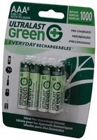 Rechargeable Battery, 1.2 V, AAA, Nickel Metal Hydride, 750 mAh, Raised Positive and Flat Negative (Ultralast Metal Nickel)